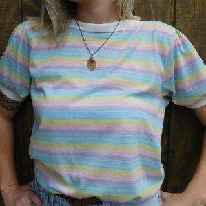 Vintage 80's Cotton Pastel Rainbow Striped Blouse
